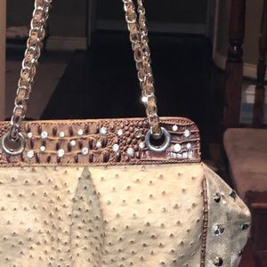 Handbags - Large shoulder bag ostrich tan purse rhinestone